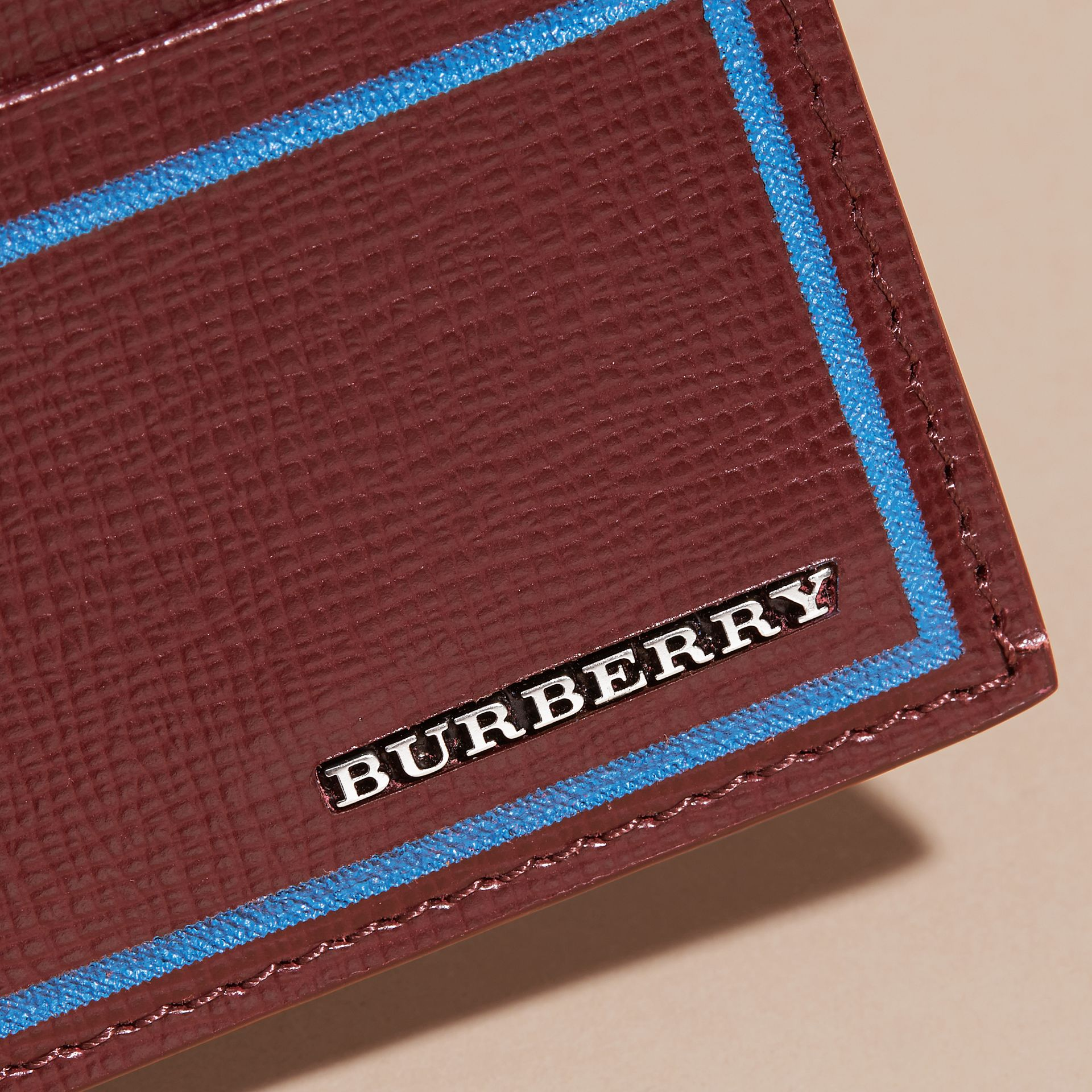 Border Detail London Leather Card Case in Burgundy Red - gallery image 4