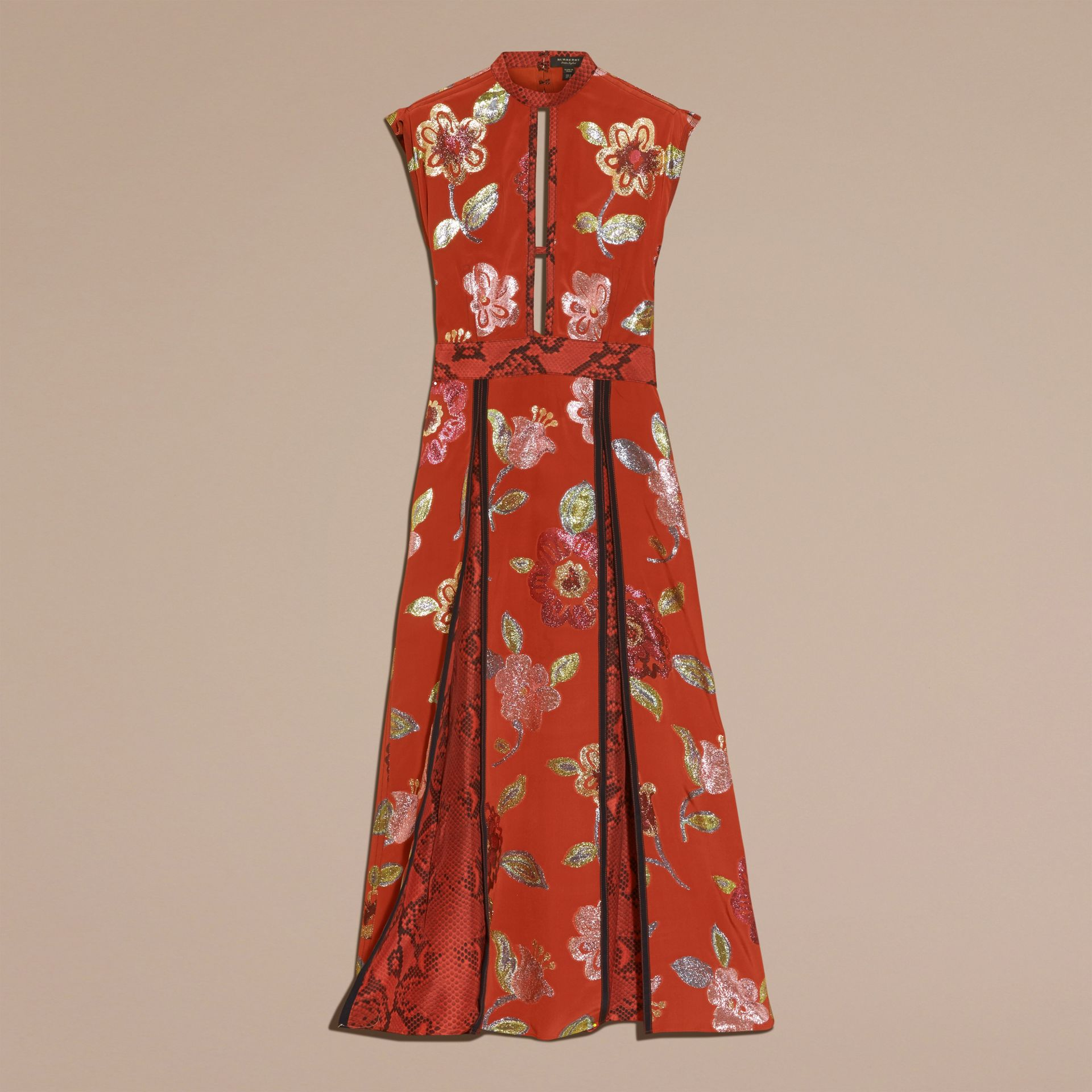 Burnt sienna Floral Fil Coupé Silk Dress - gallery image 4