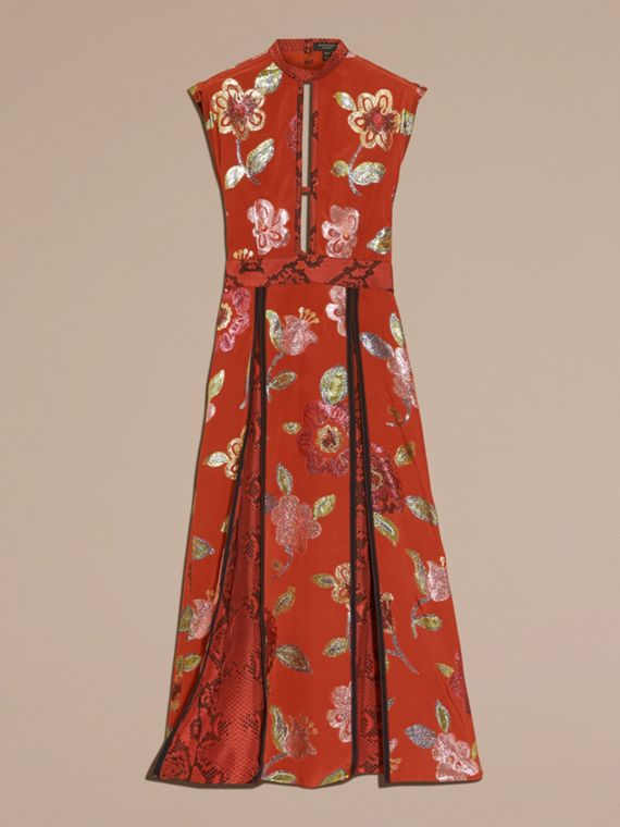 Burnt sienna Floral Fil Coupé Silk Dress - cell image 3