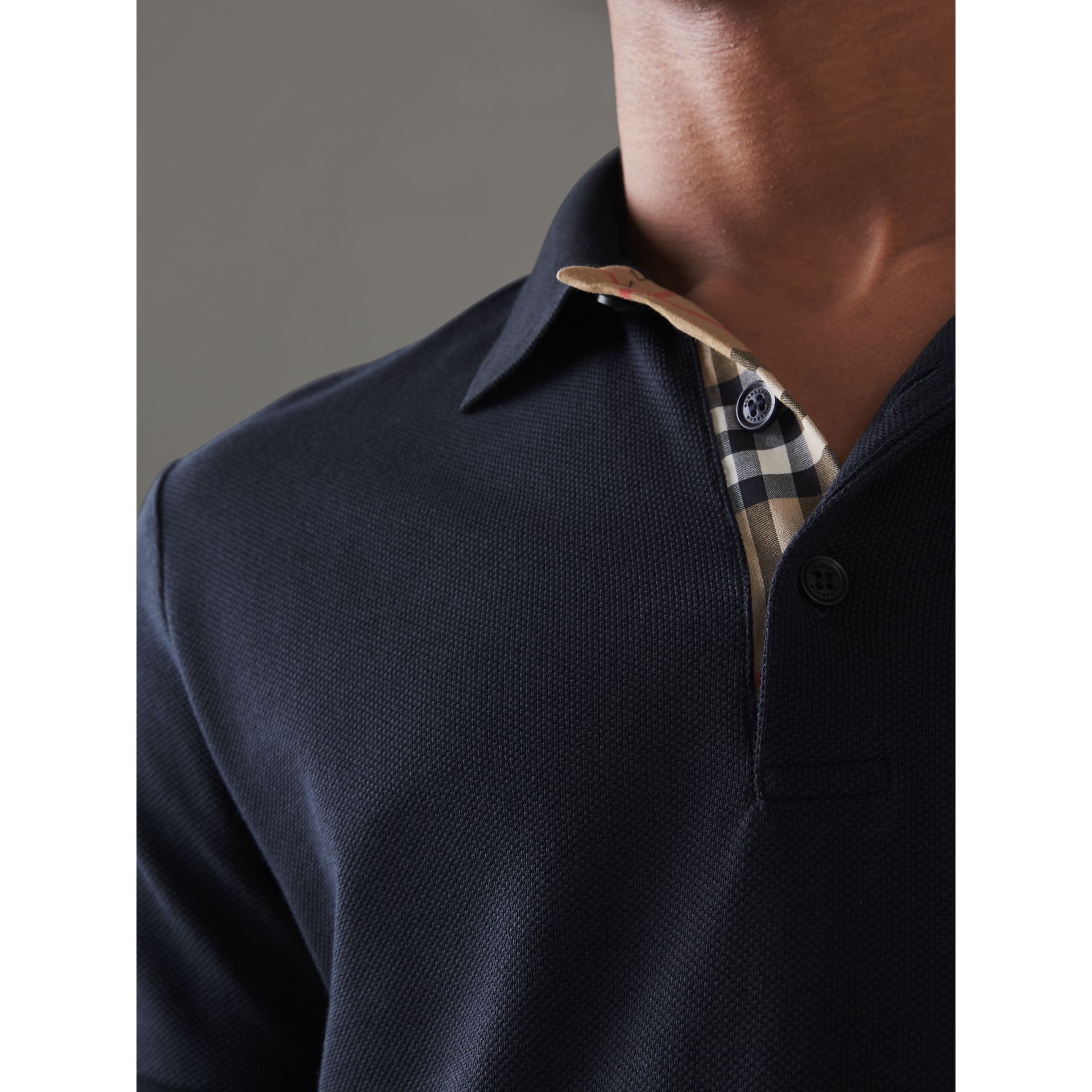 Contrast Collar Cotton Polo Shirt in Navy - Men | Burberry Singapore - gallery image 1