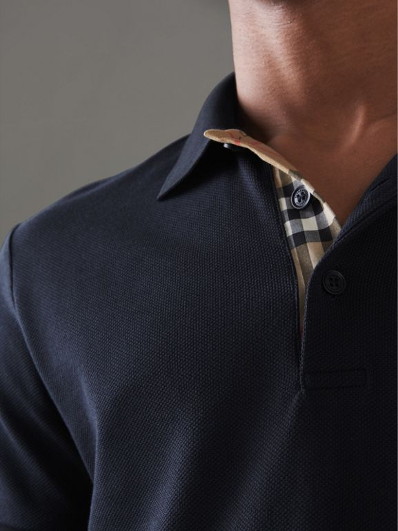 Contrast Collar Cotton Polo Shirt in Navy - Men | Burberry - cell image 1