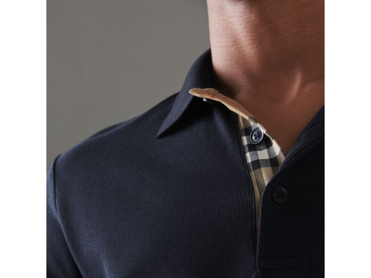 Contrast Collar Cotton Polo Shirt in Navy - Men | Burberry Singapore - cell image 1