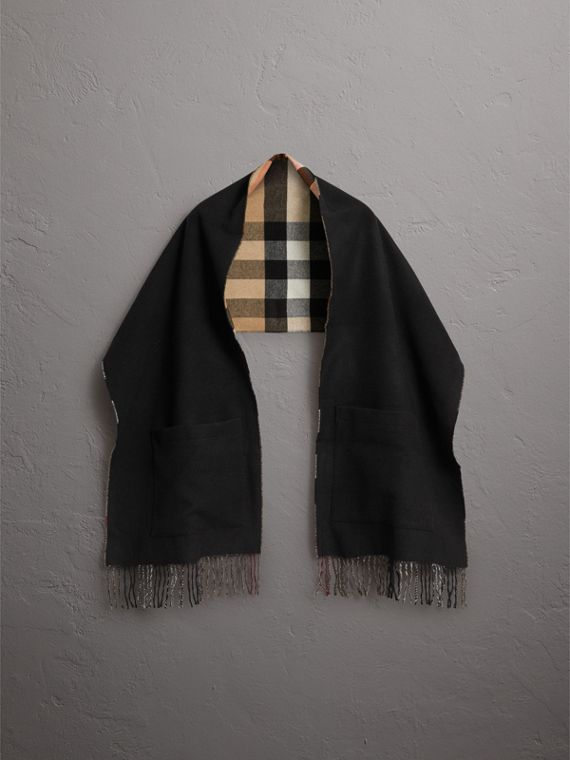 Check-lined Wool Cashmere Wrap in Black - Women | Burberry - cell image 3