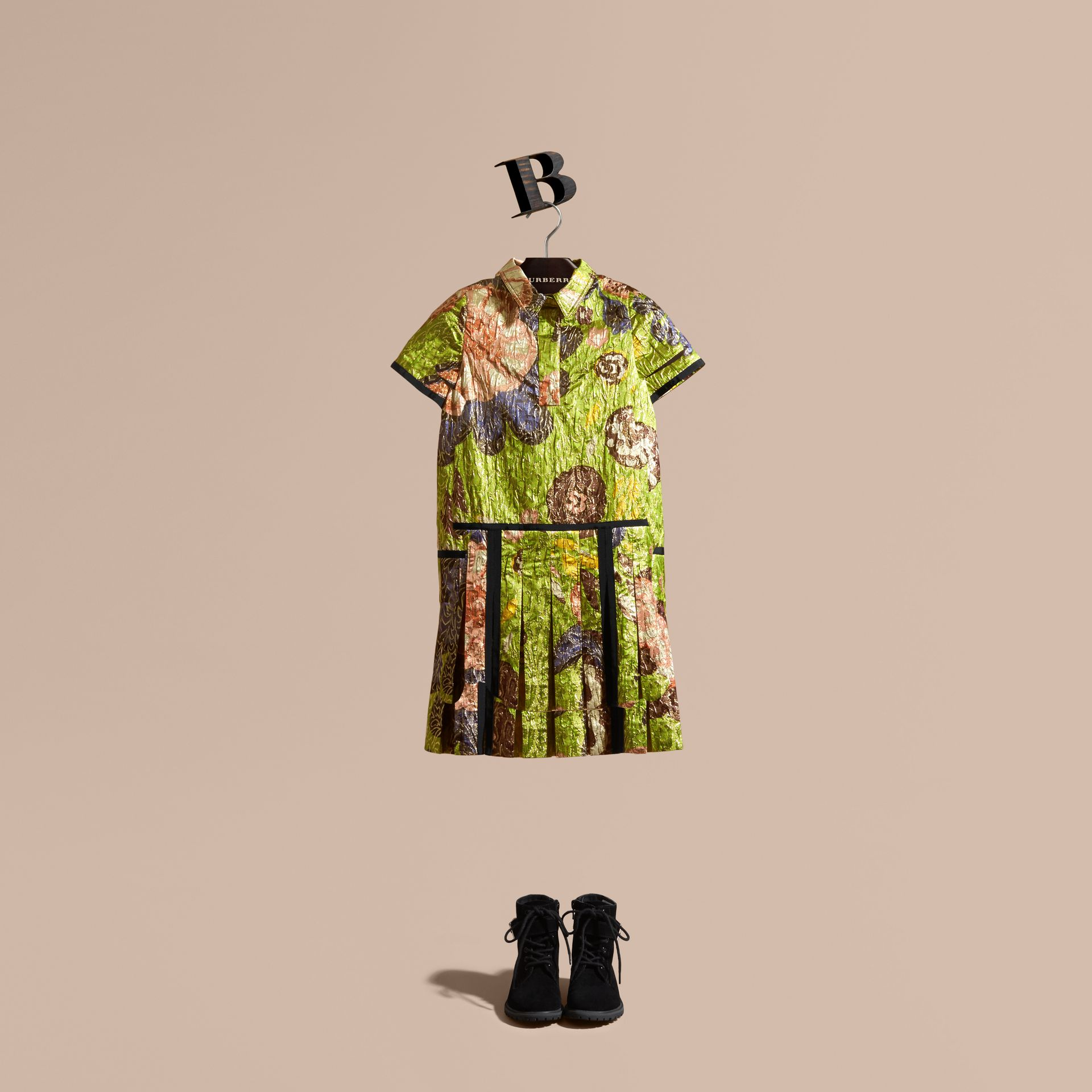 Dark lime Floral Print Lamé Shirt Dress - gallery image 1