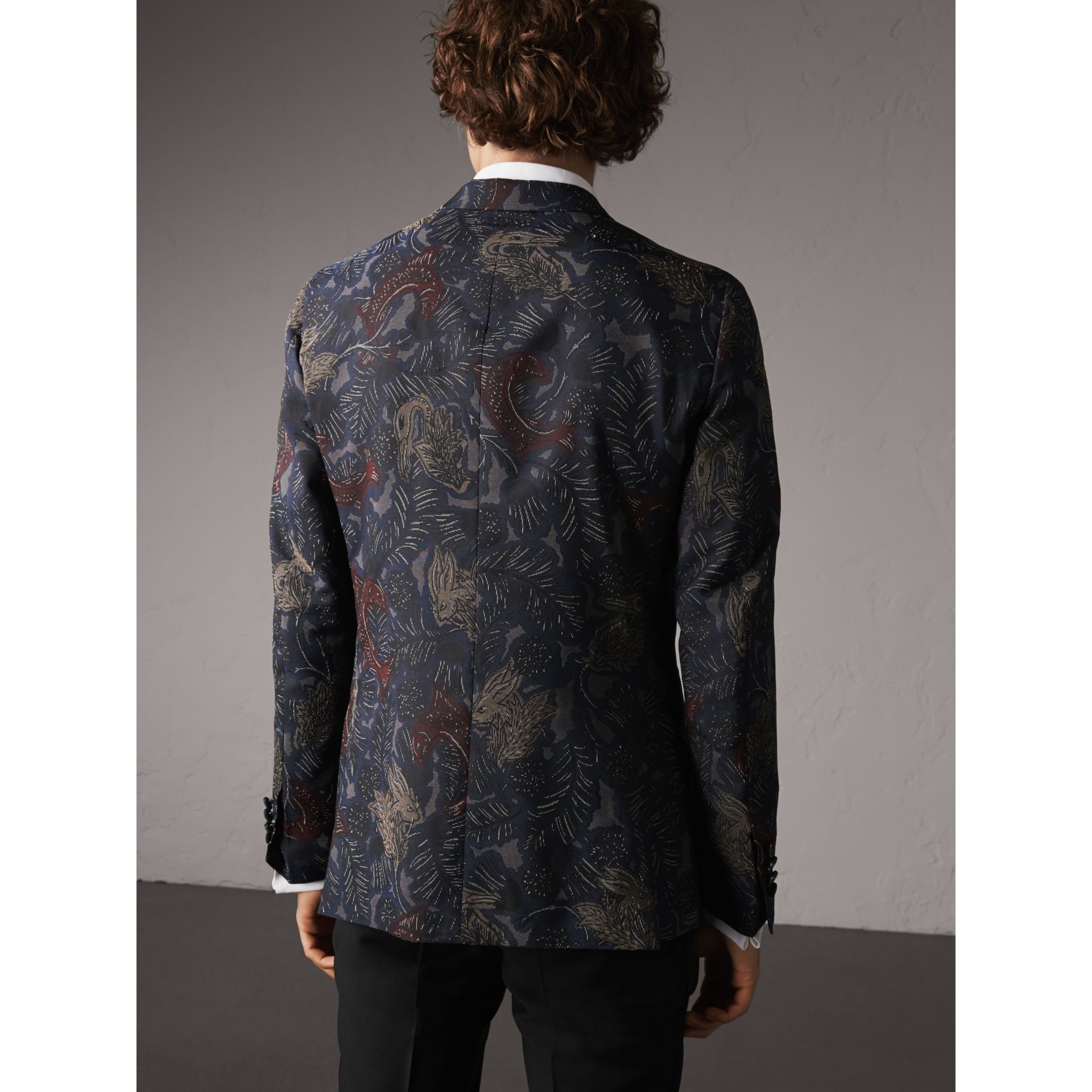 Slim Fit Beasts Technical Silk Jacquard Tailored Jacket in Navy Grey - Men | Burberry - gallery image 3