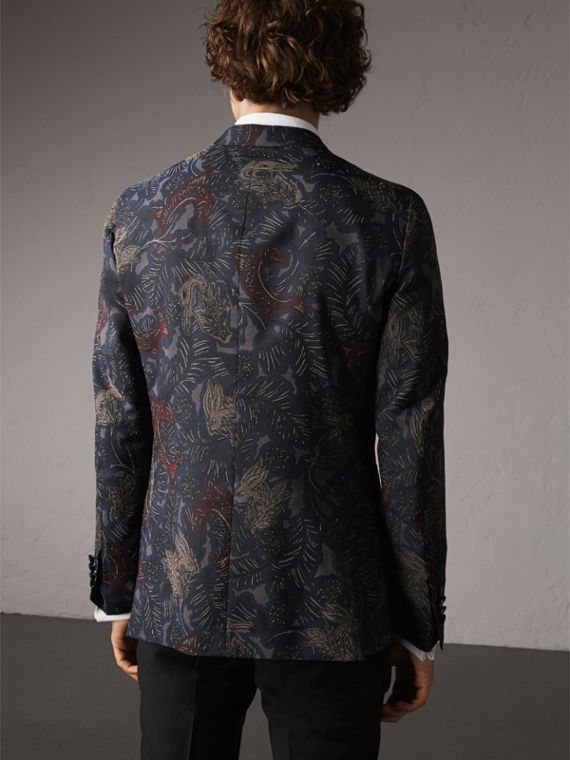 Slim Fit Beasts Technical Silk Jacquard Tailored Jacket in Navy Grey - Men | Burberry - cell image 2