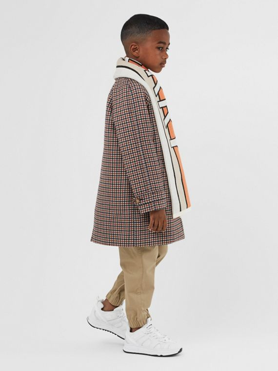 Logo Jacquard Check Wool Car Coat in Rust Brown