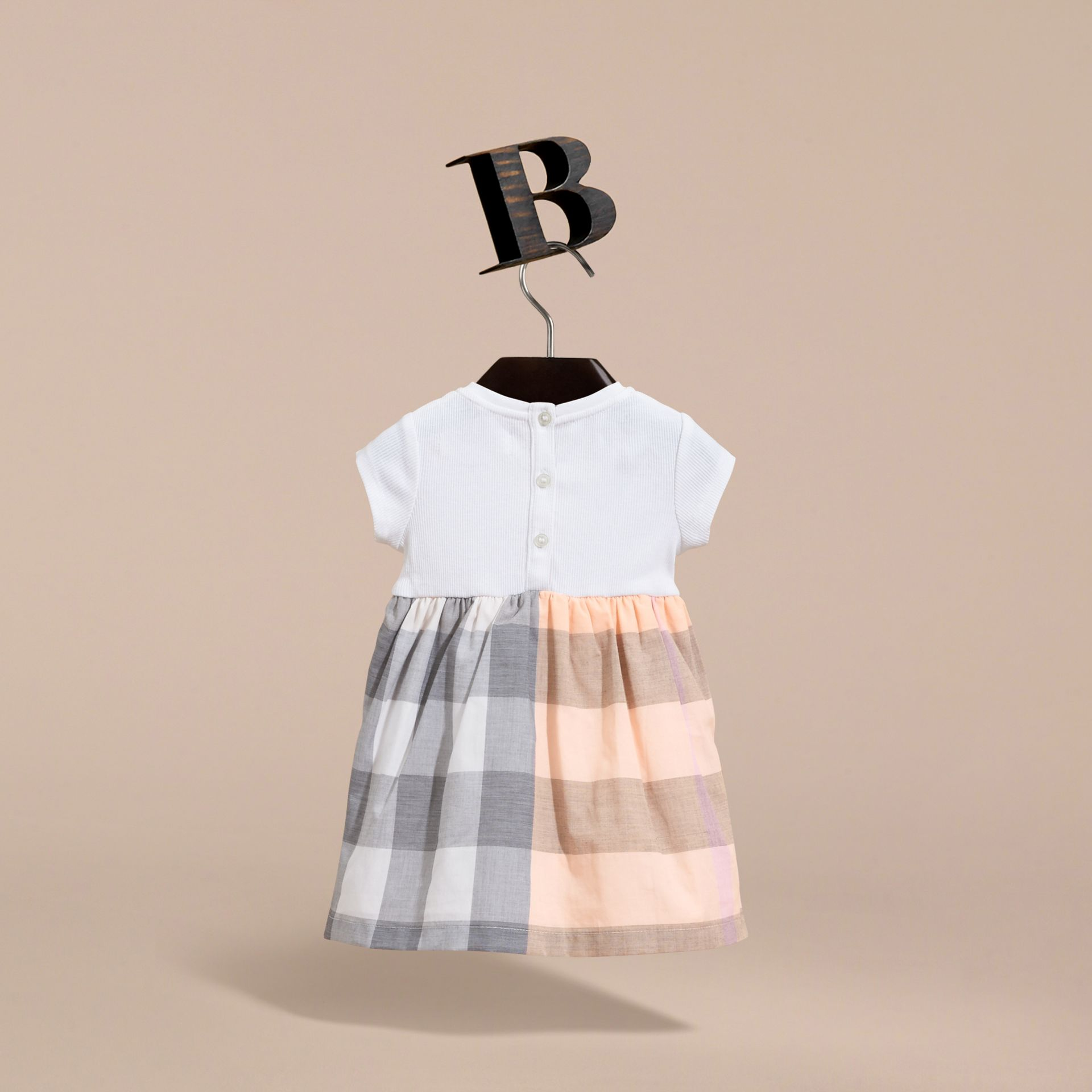 Check Cotton Jersey T-shirt Dress in Apricot | Burberry Australia - gallery image 4