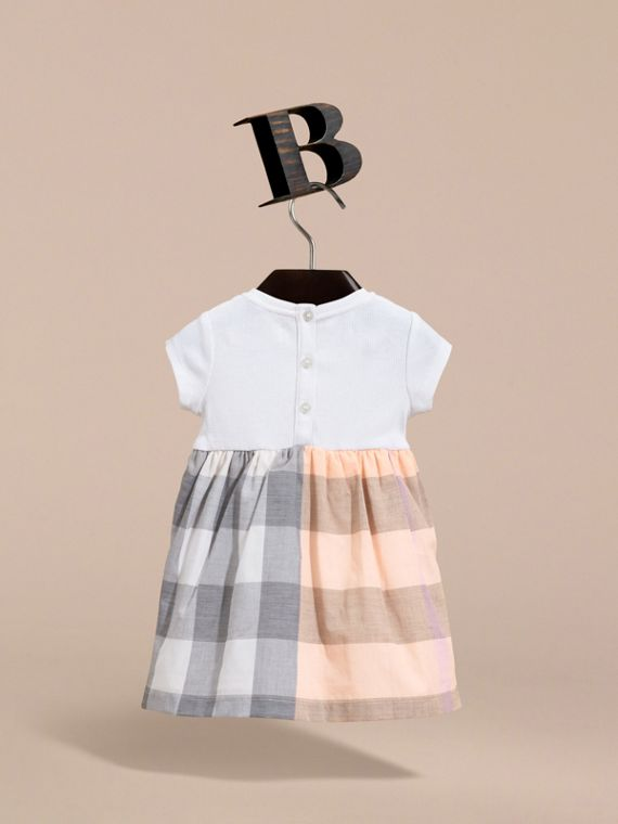 Check Cotton Jersey T-shirt Dress in Apricot | Burberry Australia - cell image 3
