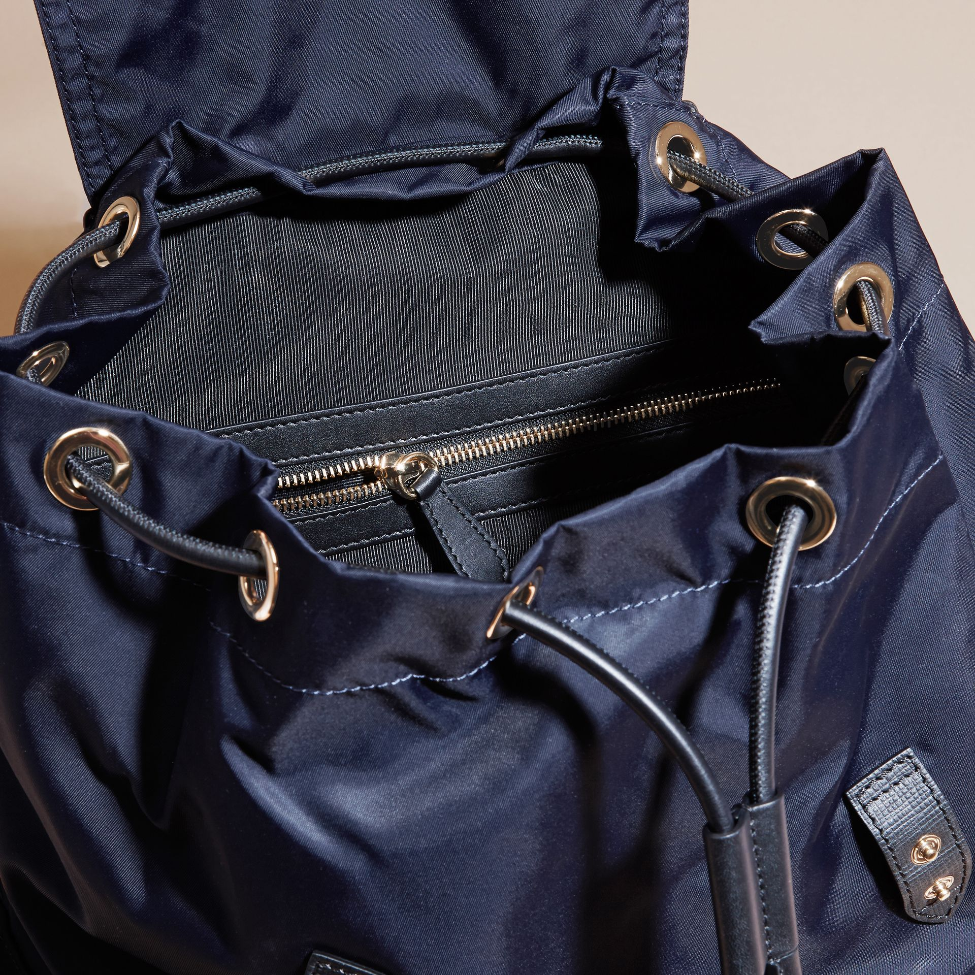 The Large Rucksack in Technical Nylon and Leather in Ink Blue - gallery image 6
