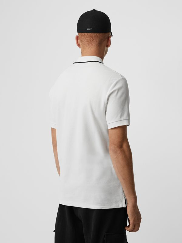 Embroidered Logo Cotton Piqué Polo Shirt in White - Men | Burberry - cell image 2