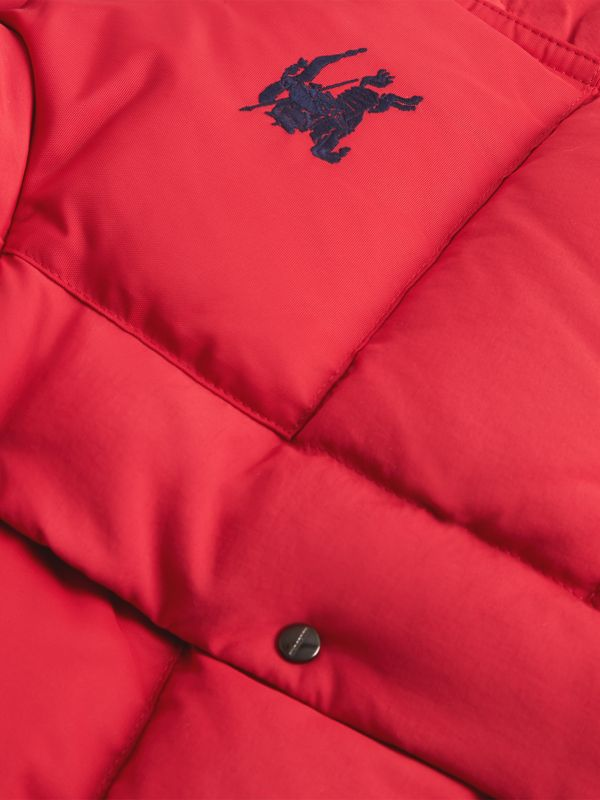 Detachable Hood Down-filled Puffer Jacket in Bright Red | Burberry - cell image 3