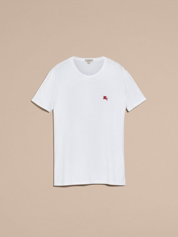 Cotton Jersey T-shirt in Optic White - Men | Burberry Hong Kong - cell image 3