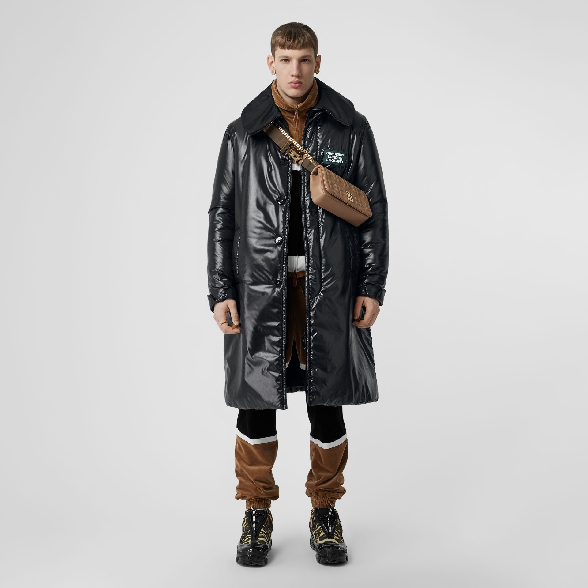 Detachable Funnel Neck Padded Nylon Car Coat in Black - Men | Burberry - gallery image 1