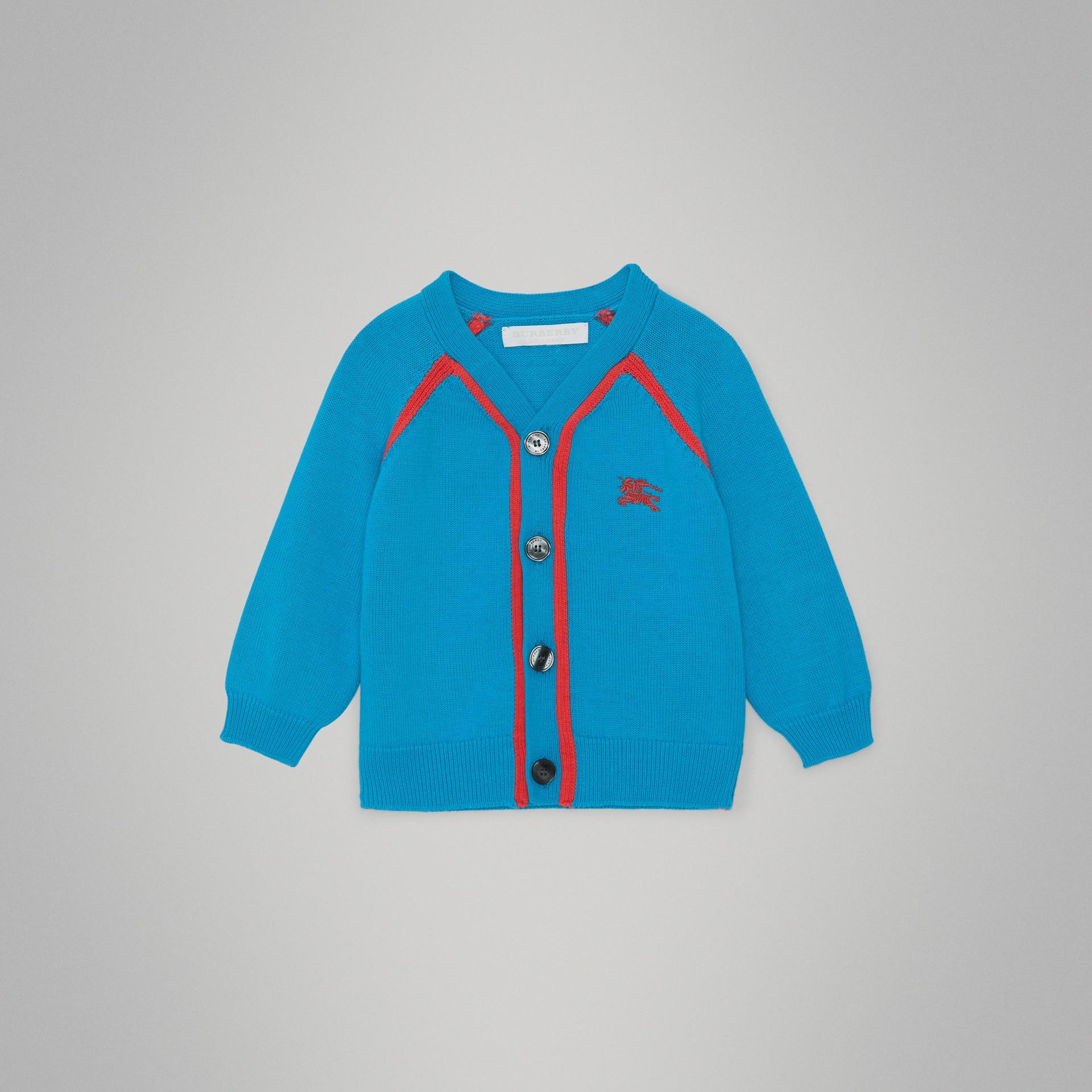 Cardigan en coton bicolore (Bleu Régate) - Enfant | Burberry - photo de la galerie 0