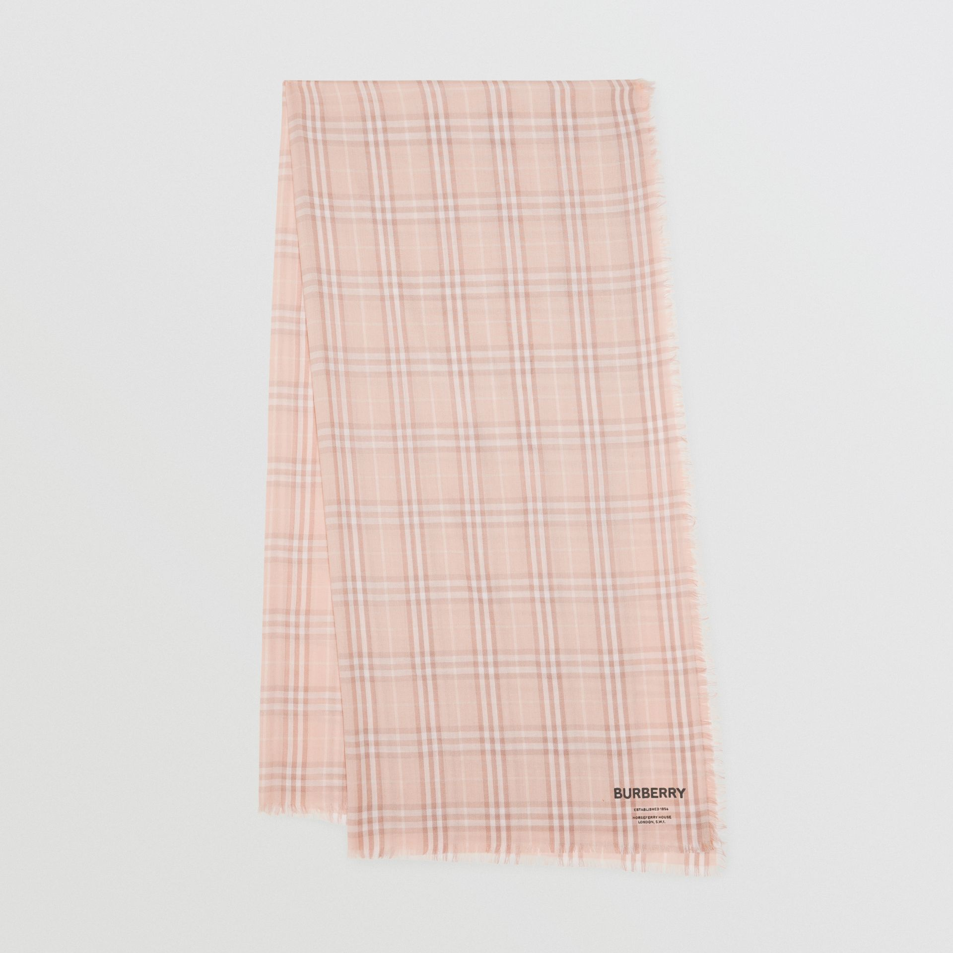 Embroidered Vintage Check Lightweight Cashmere Scarf in Soft Peach | Burberry - gallery image 0