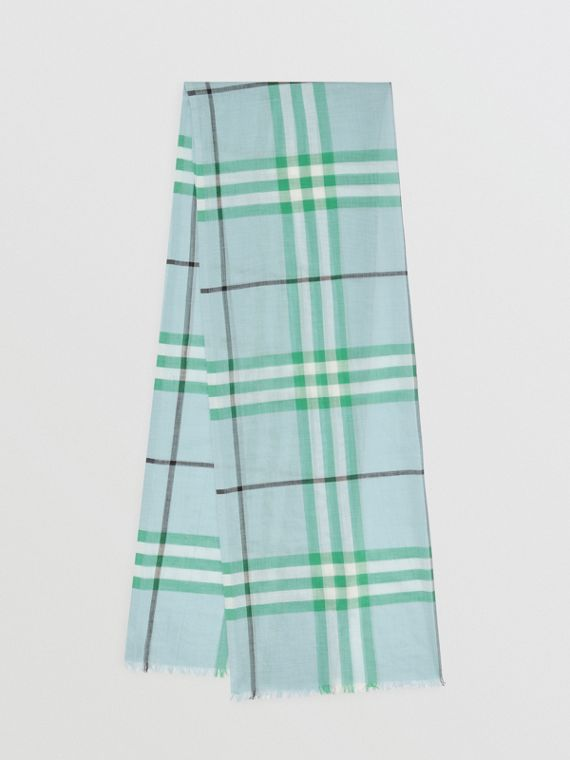 Fringed Check Cashmere Scarf in Pale Peridot Blue