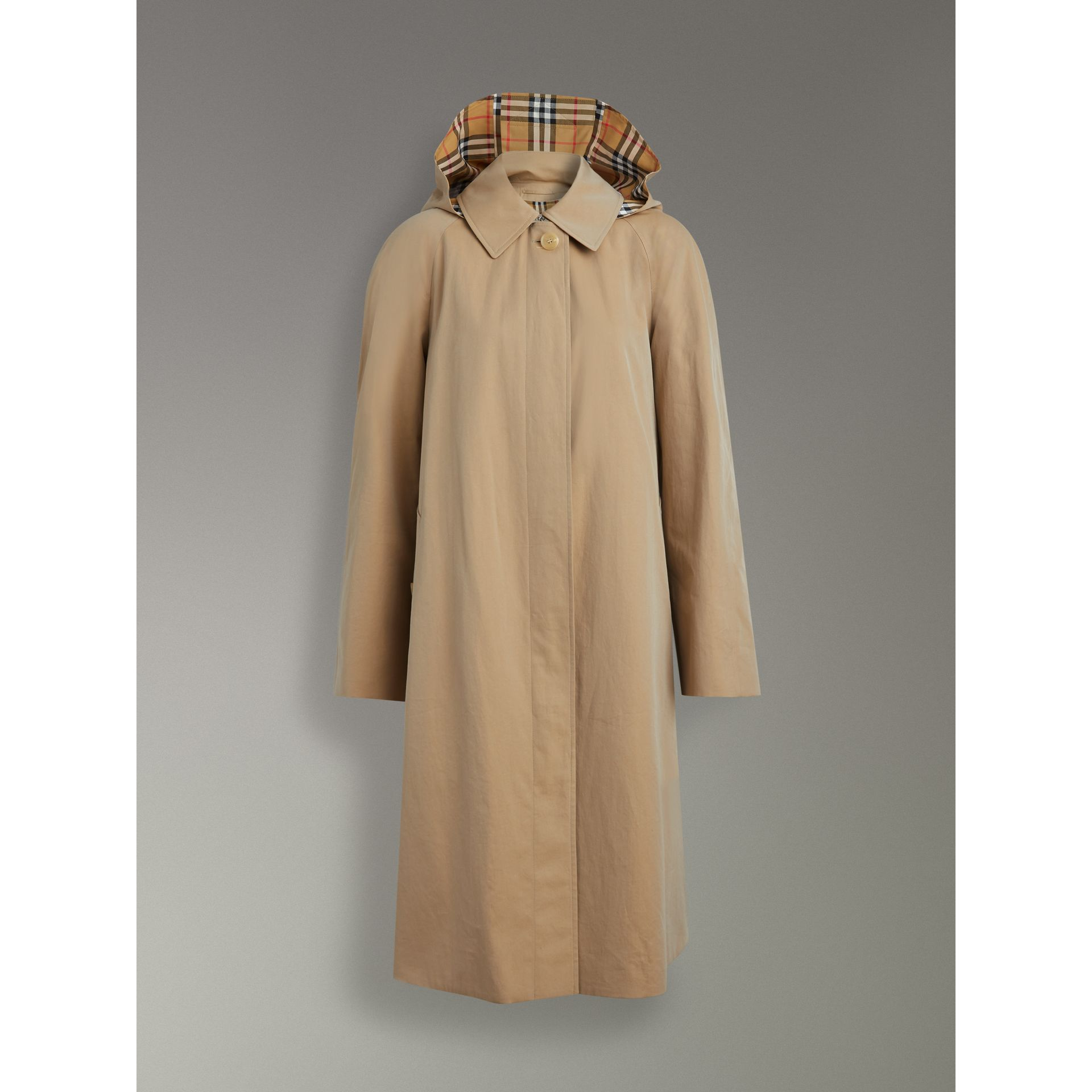 Detachable Hood Tropical Gabardine Car Coat in Honey - Women | Burberry - gallery image 3
