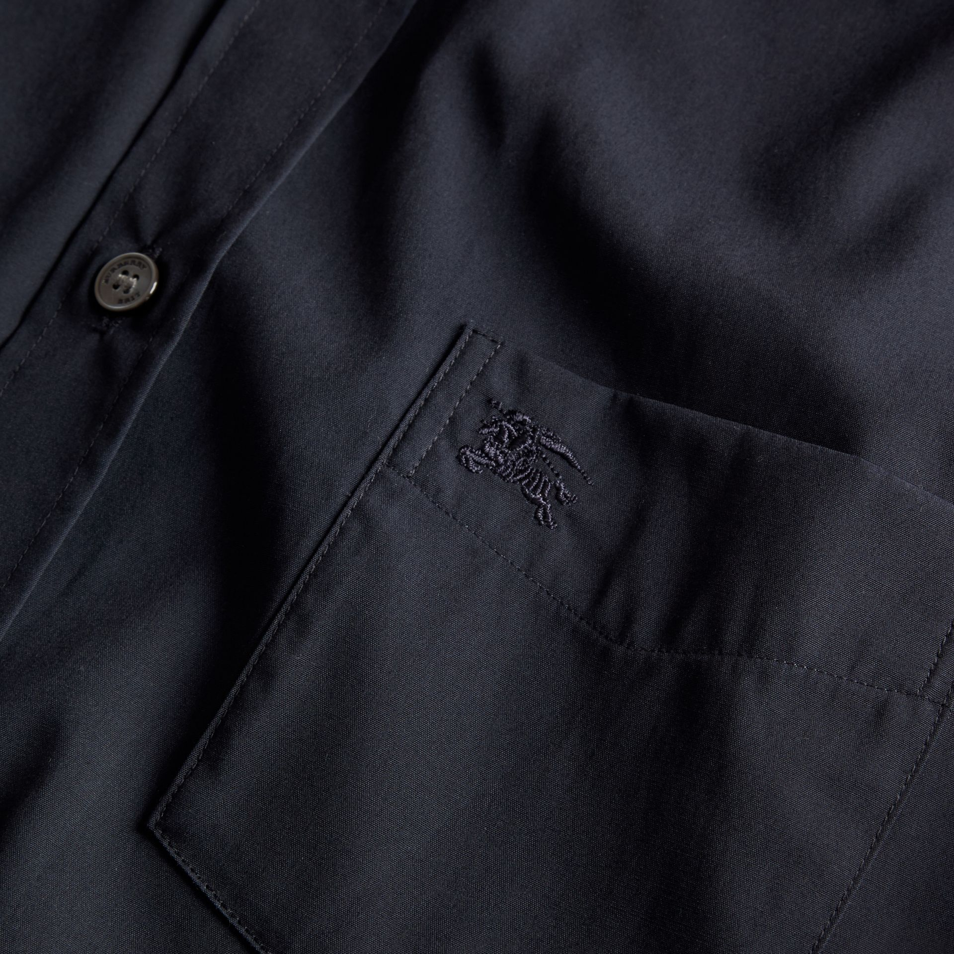 Short-sleeved Stretch Cotton Poplin Shirt in Navy - gallery image 2