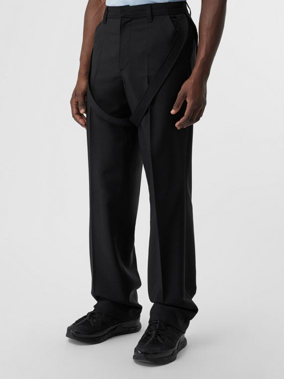 Strap Detail Wool Mohair Tailored Trousers in Black