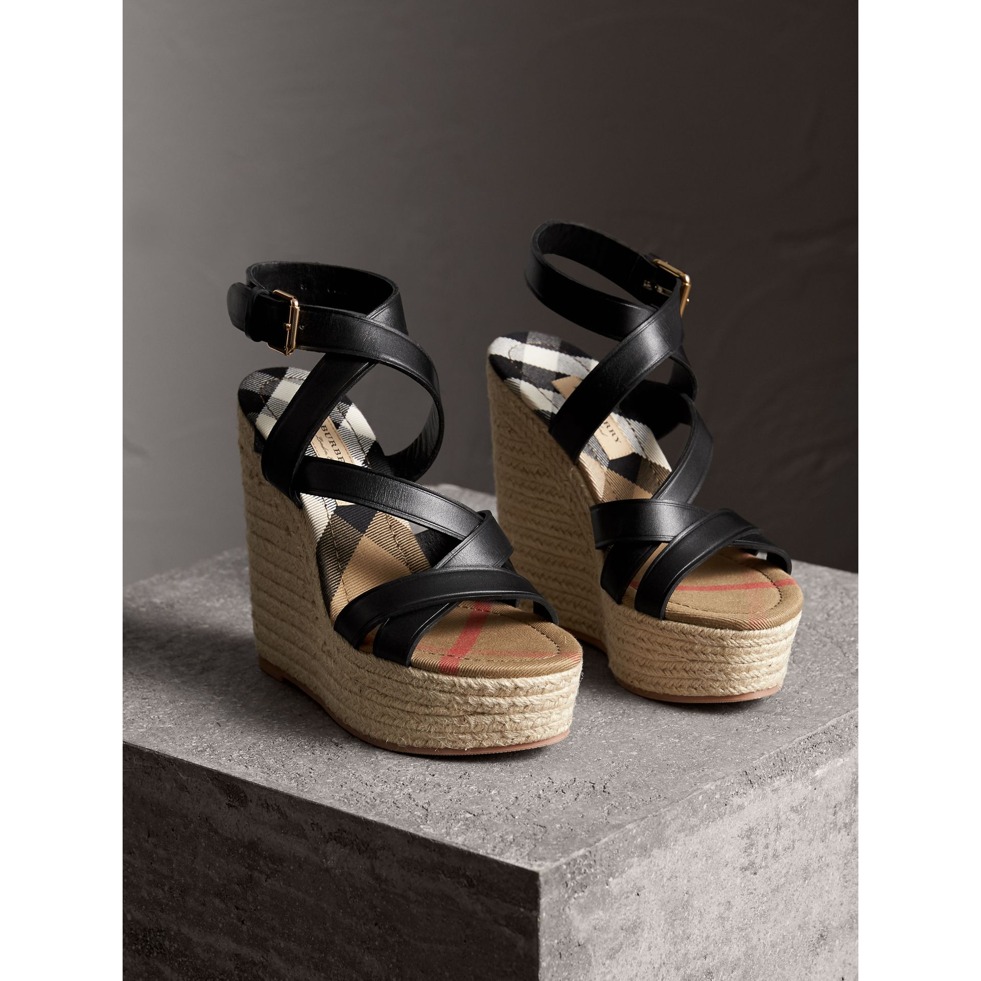 Leather Platform Espadrille Wedge Sandals in Black - Women | Burberry - gallery image 5