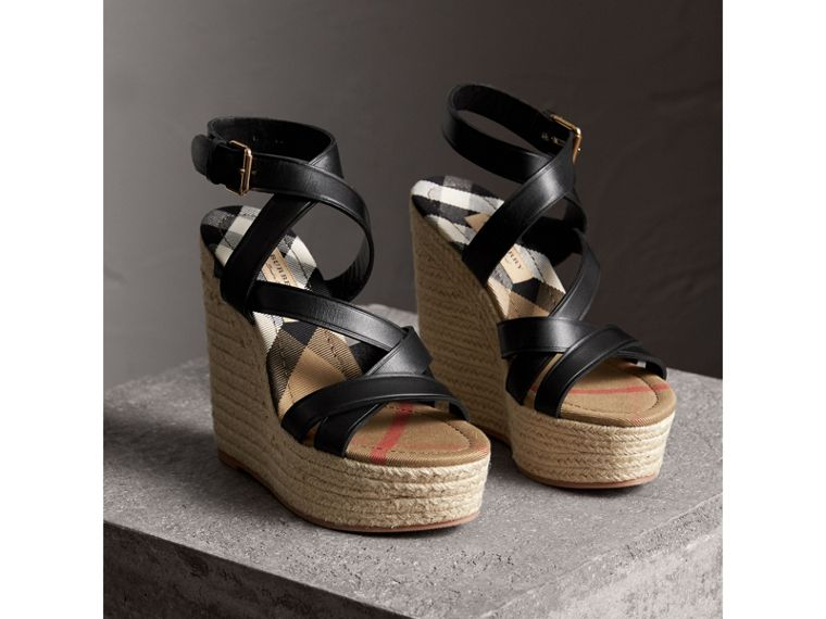 Leather Platform Espadrille Wedge Sandals in Black - Women | Burberry - cell image 4