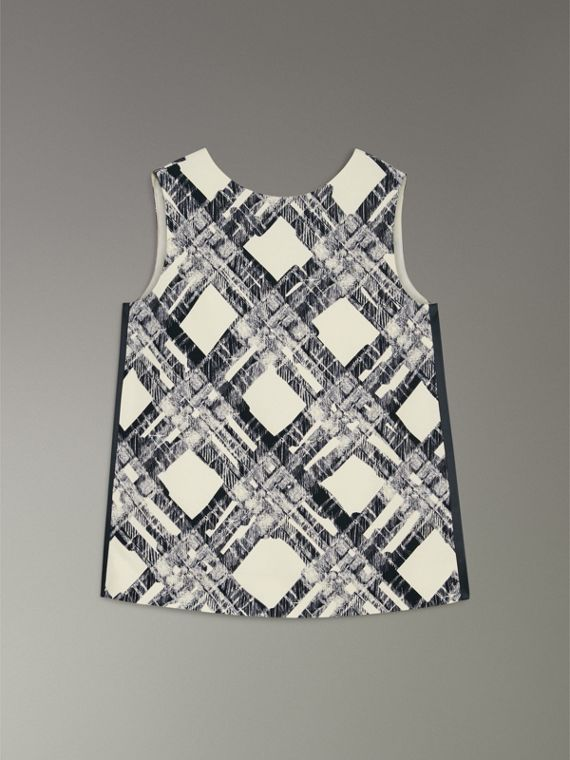 Sleeveless Check Print Wool Silk Top in Stone - Women | Burberry - cell image 3