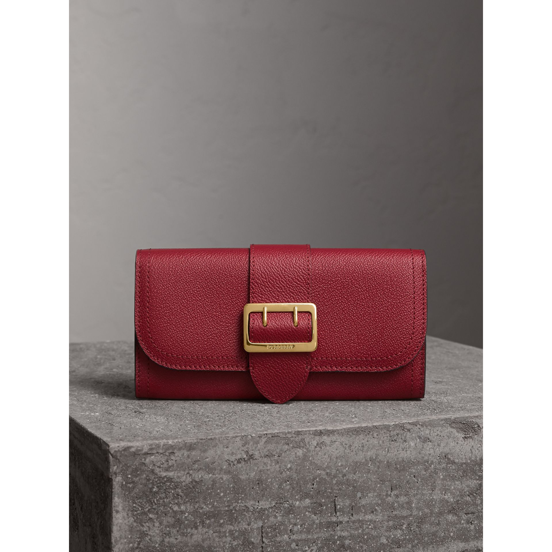 Textured Leather Continental Wallet in Parade Red - Women | Burberry - gallery image 6