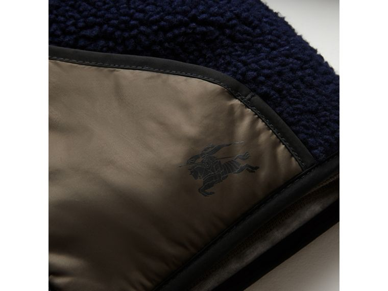 Faux Shearling Panelled Hooded Jacket in Navy | Burberry - cell image 1