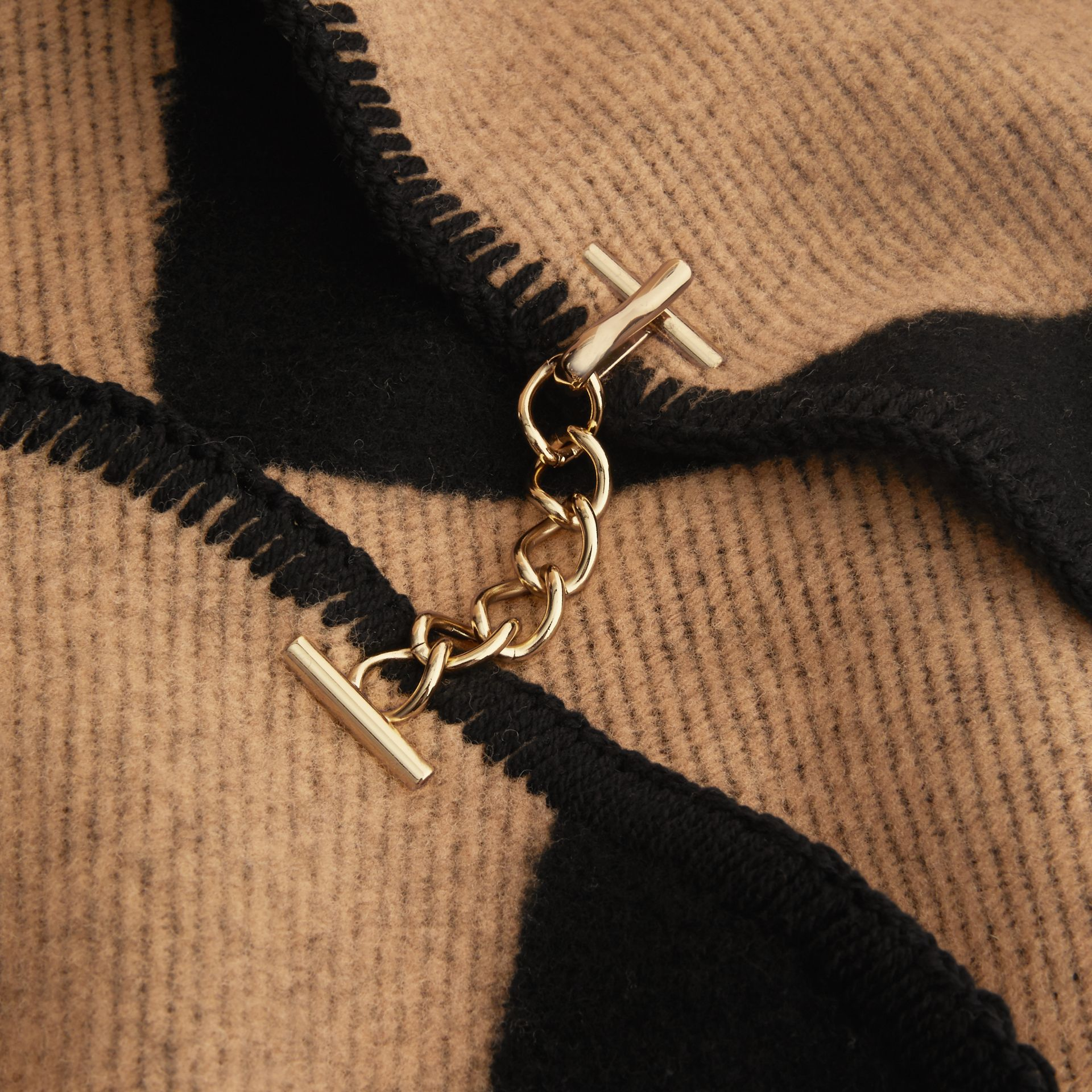 Check Wool Cashmere Blanket Cape in Camel/black - Women | Burberry Canada - gallery image 2