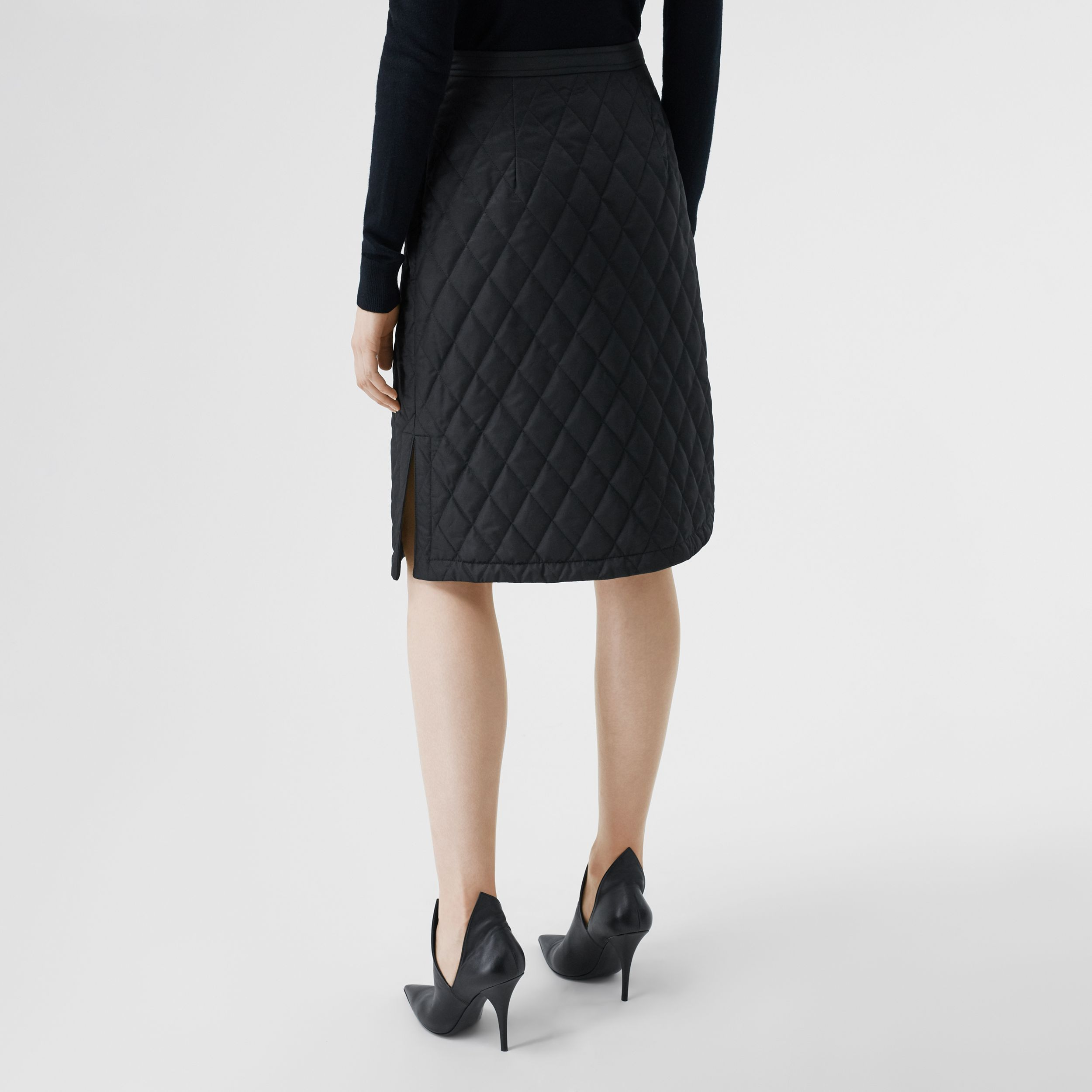Diamond Quilted A-line Skirt in Black - Women | Burberry Australia - 3