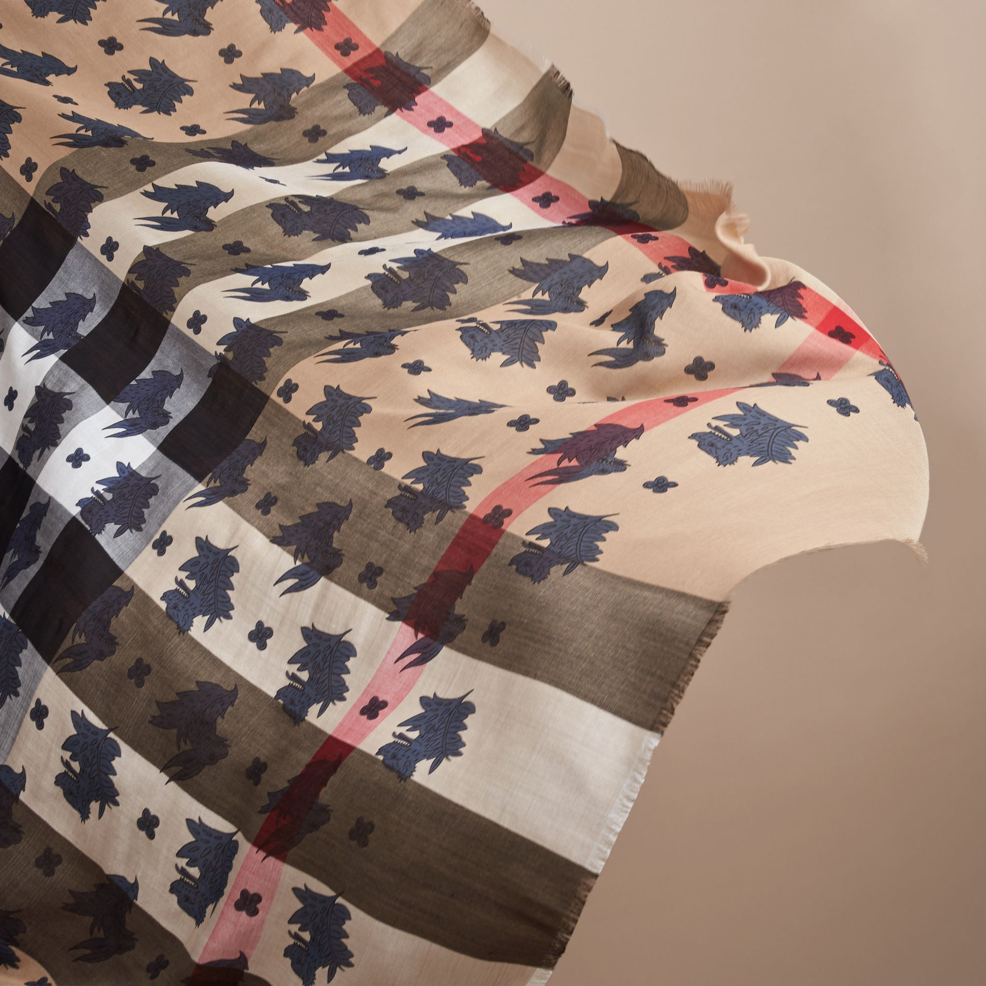 Beasts Print and Check Silk Wool Blend Square Scarf in Camel/stone Blue | Burberry Hong Kong - gallery image 5