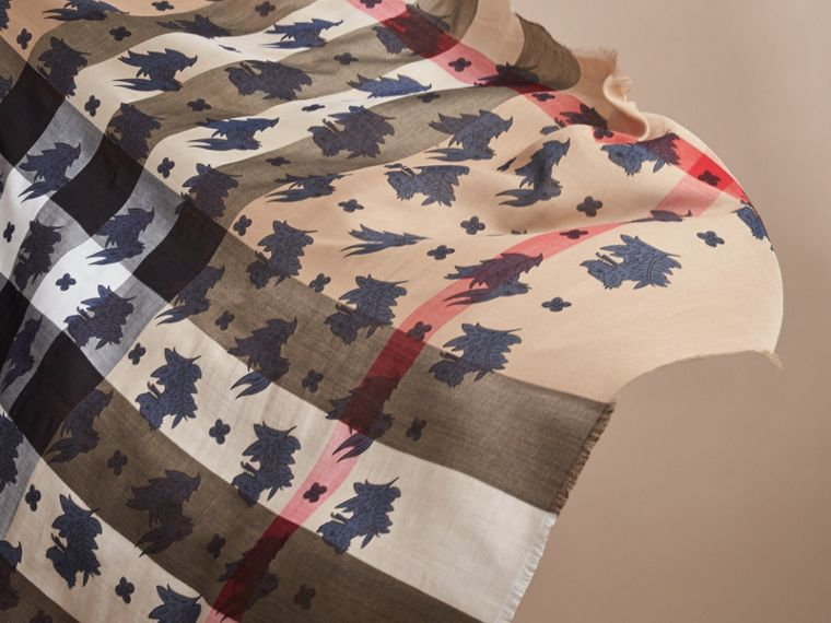 Beasts Print and Check Silk Wool Blend Square Scarf in Camel/stone Blue | Burberry Hong Kong - cell image 4