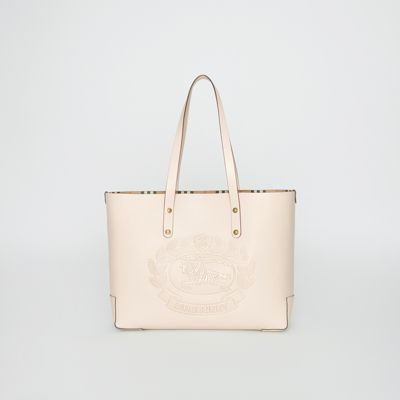 37ebbc1004565 BURBERRY. SMALL EMBOSSED CREST LEATHER TOTE
