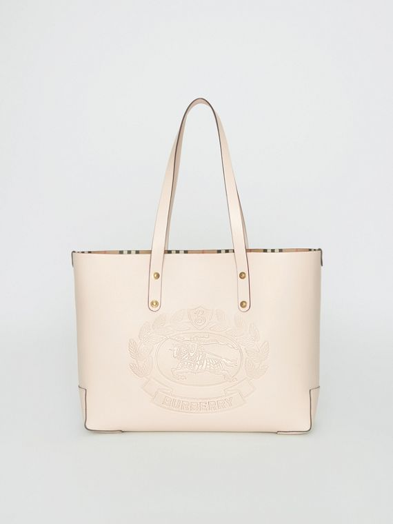 Small Embossed Crest Leather Tote in Limestone