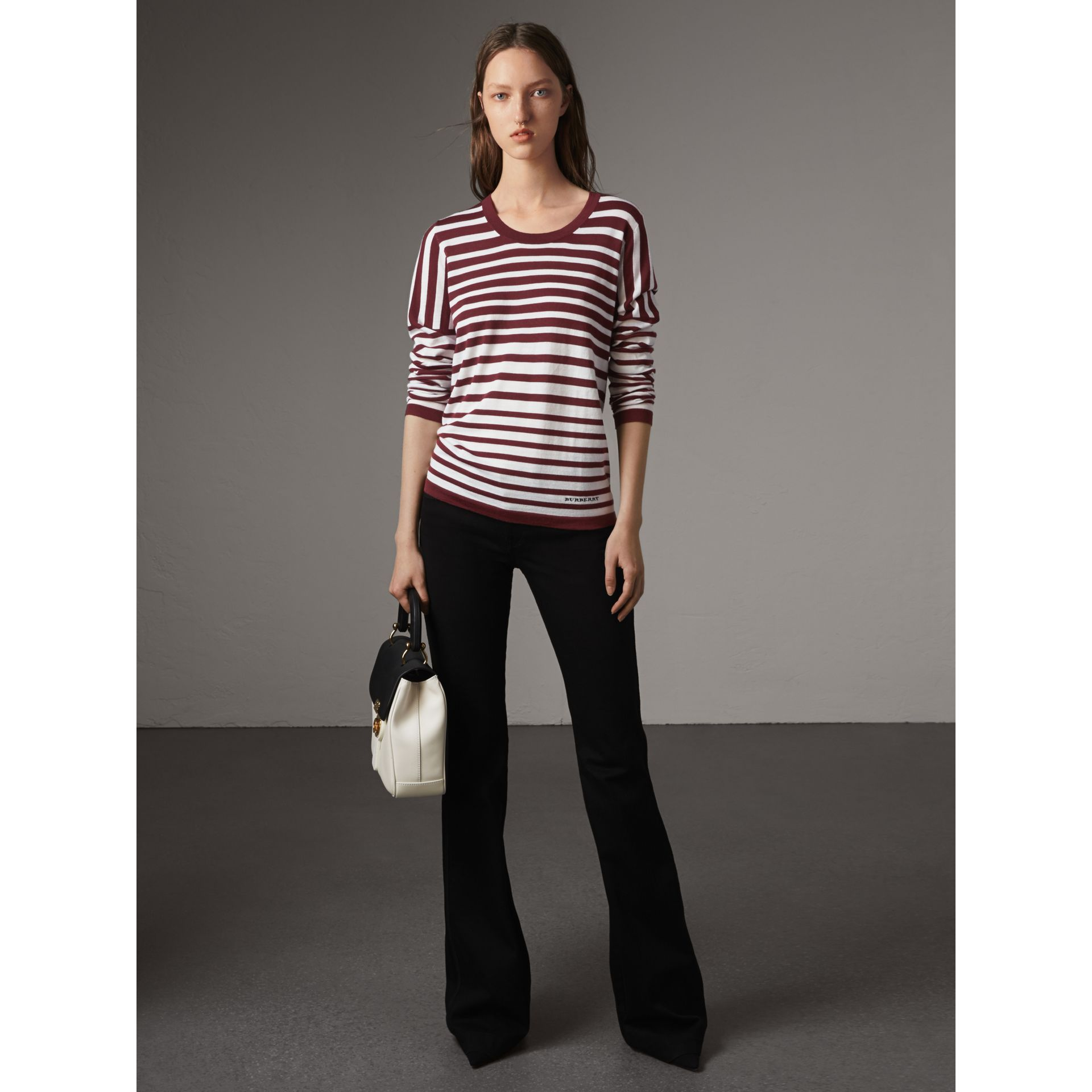 Graduated Stripe Merino Wool Sweater in Russet/natural White - Women | Burberry - gallery image 1