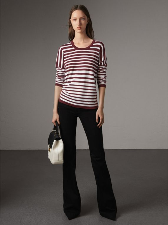 Graduated Stripe Merino Wool Sweater in Russet/natural White - Women | Burberry Australia