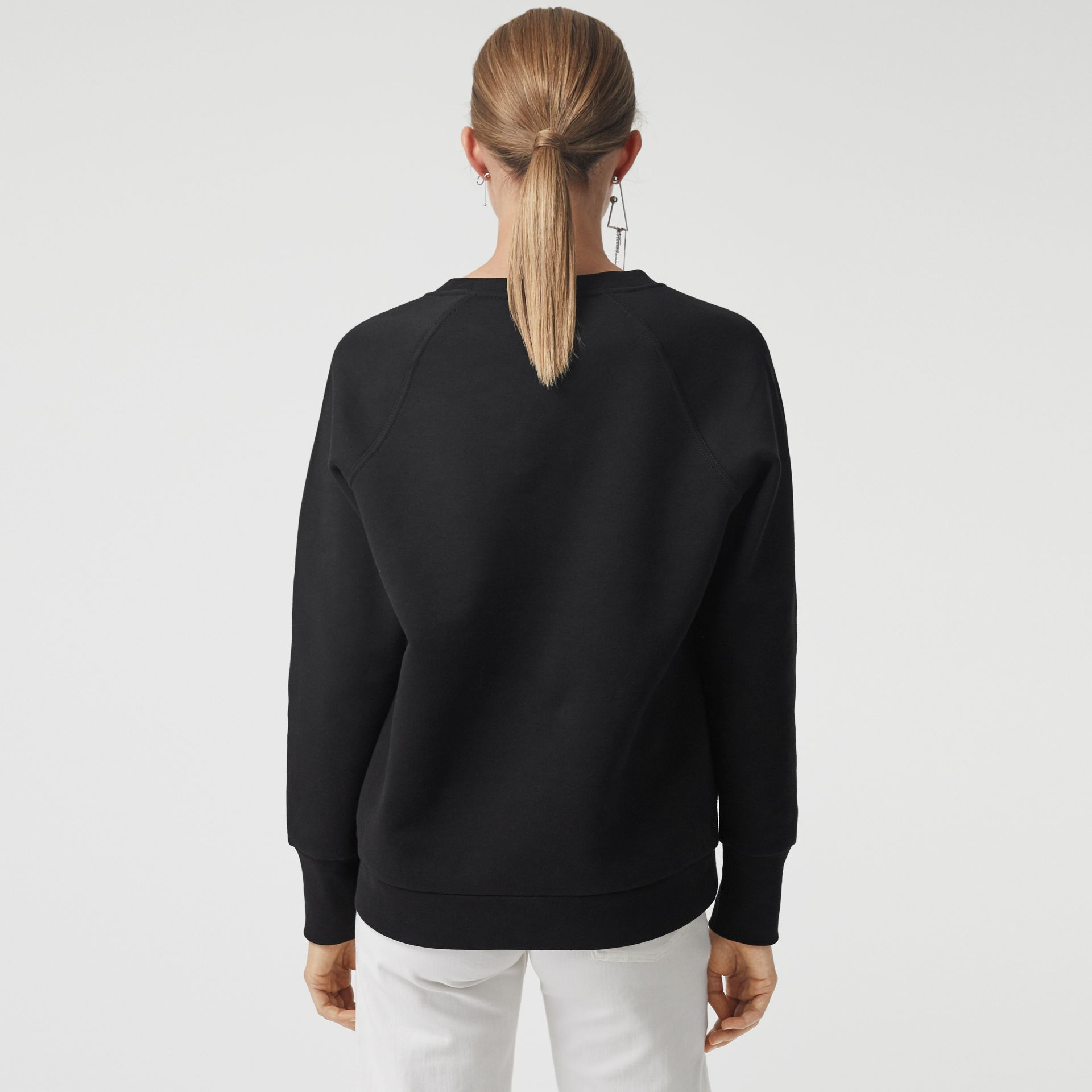 Embroidered Archive Logo Cotton Blend Sweatshirt in Black - Women | Burberry - gallery image 2