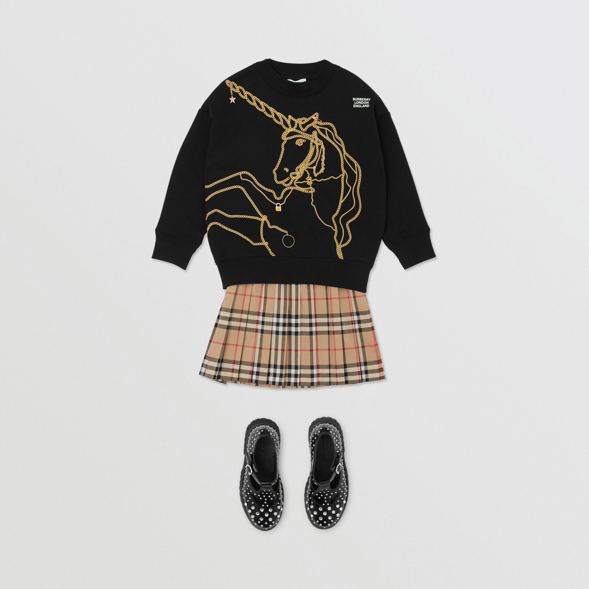 Suéter de algodão com estampa de correntes (Preto) | Burberry - galeria de imagens 2