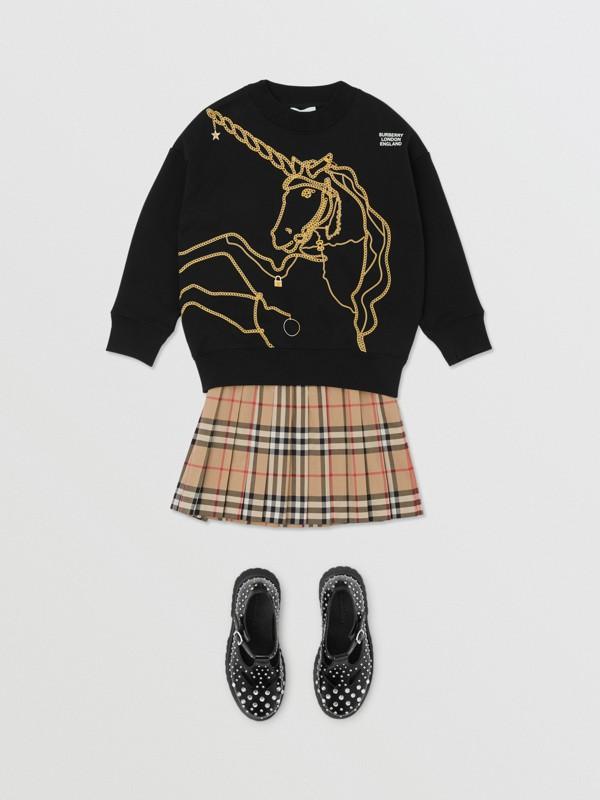 Suéter de algodão com estampa de correntes (Preto) | Burberry - cell image 2