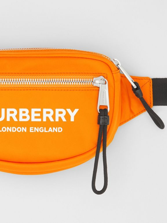 Small Logo Print ECONYL® Cannon Bum Bag in Bright Orange | Burberry - cell image 1