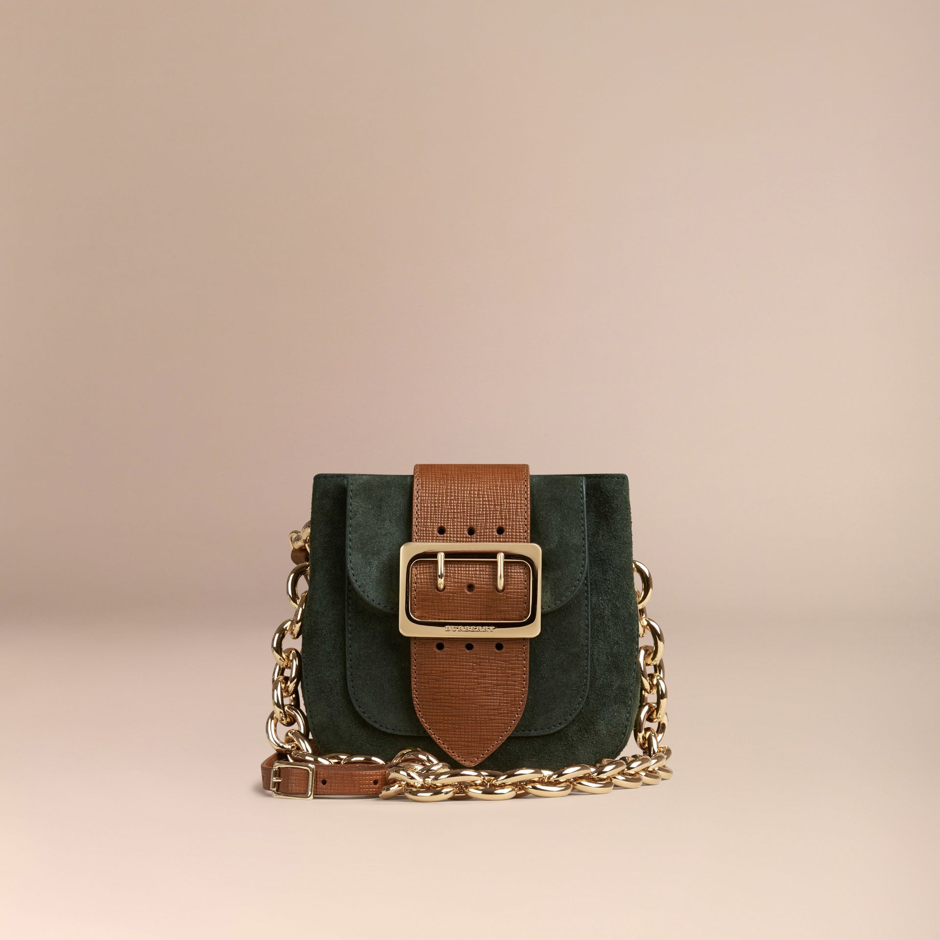 Dark forest green The Small Square Buckle Bag in Suede and Leather Dark Forest Green - gallery image 7