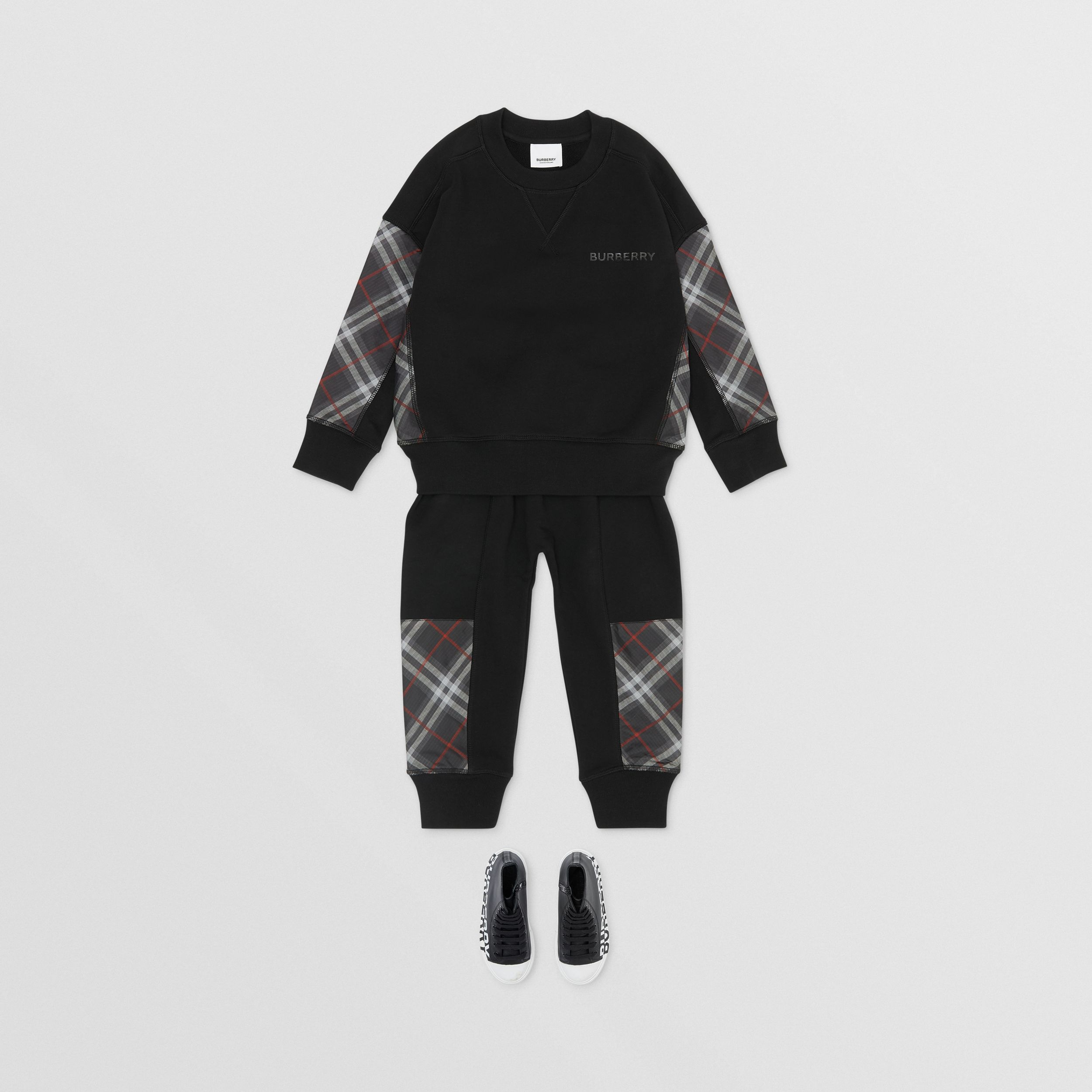 Vintage Check Panel Cotton Trackpants in Black | Burberry - 3