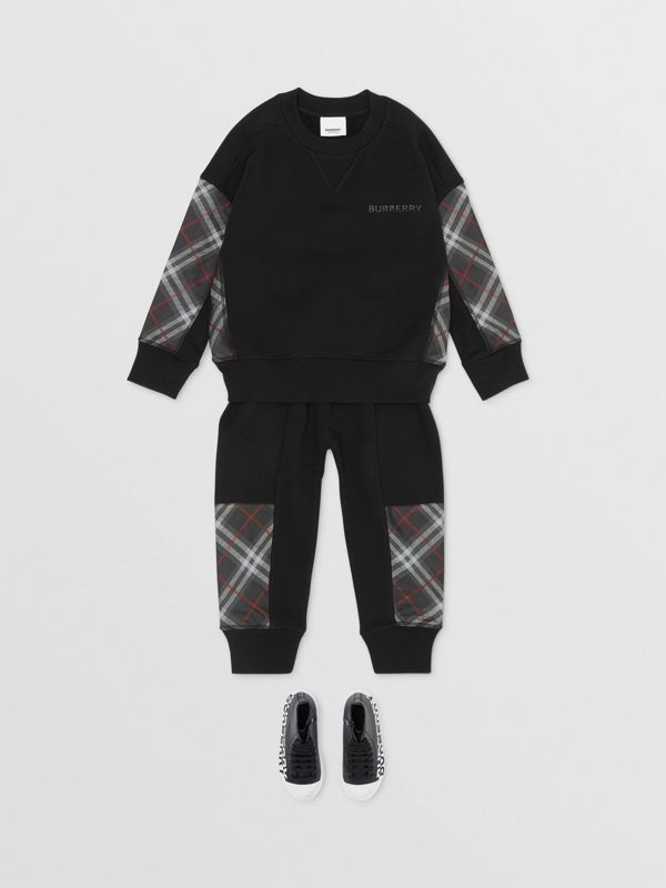 Vintage Check Panel Cotton Trackpants in Black - Boy | Burberry - cell image 2