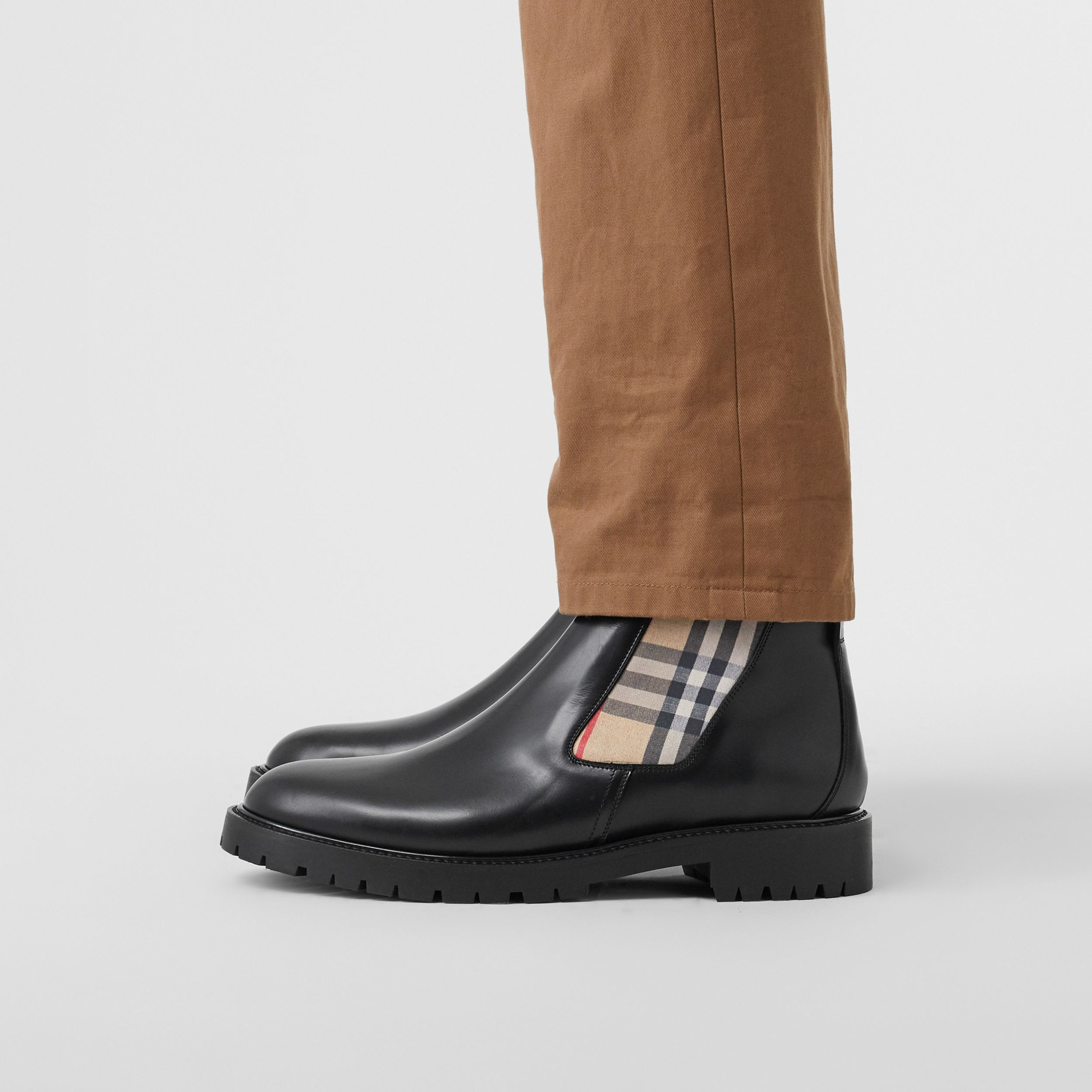 Vintage Check Detail Leather Chelsea Boots in Black - Men | Burberry Australia - 3