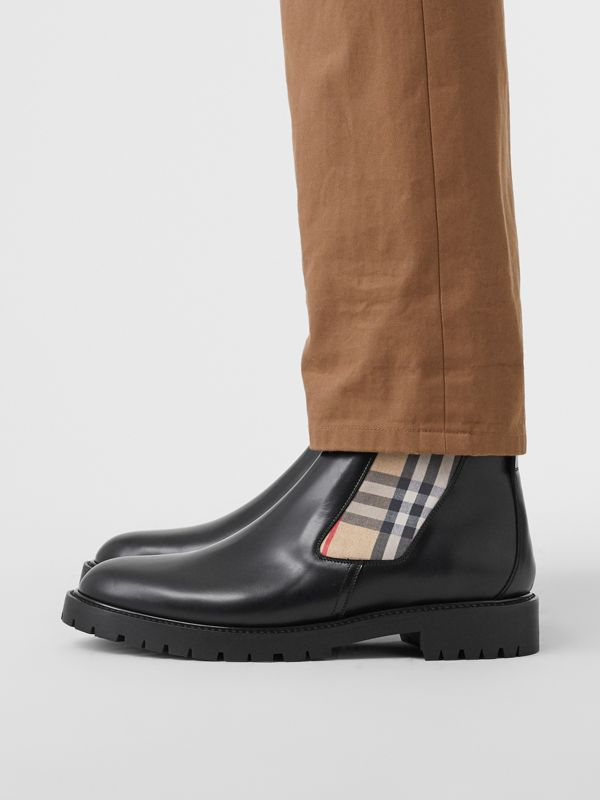 Vintage Check Detail Leather Chelsea Boots in Black - Men | Burberry United Kingdom - cell image 2
