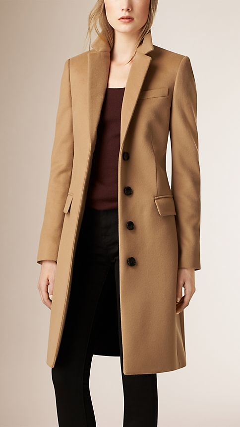 Tailored Wool Cashmere Coat Camel Burberry