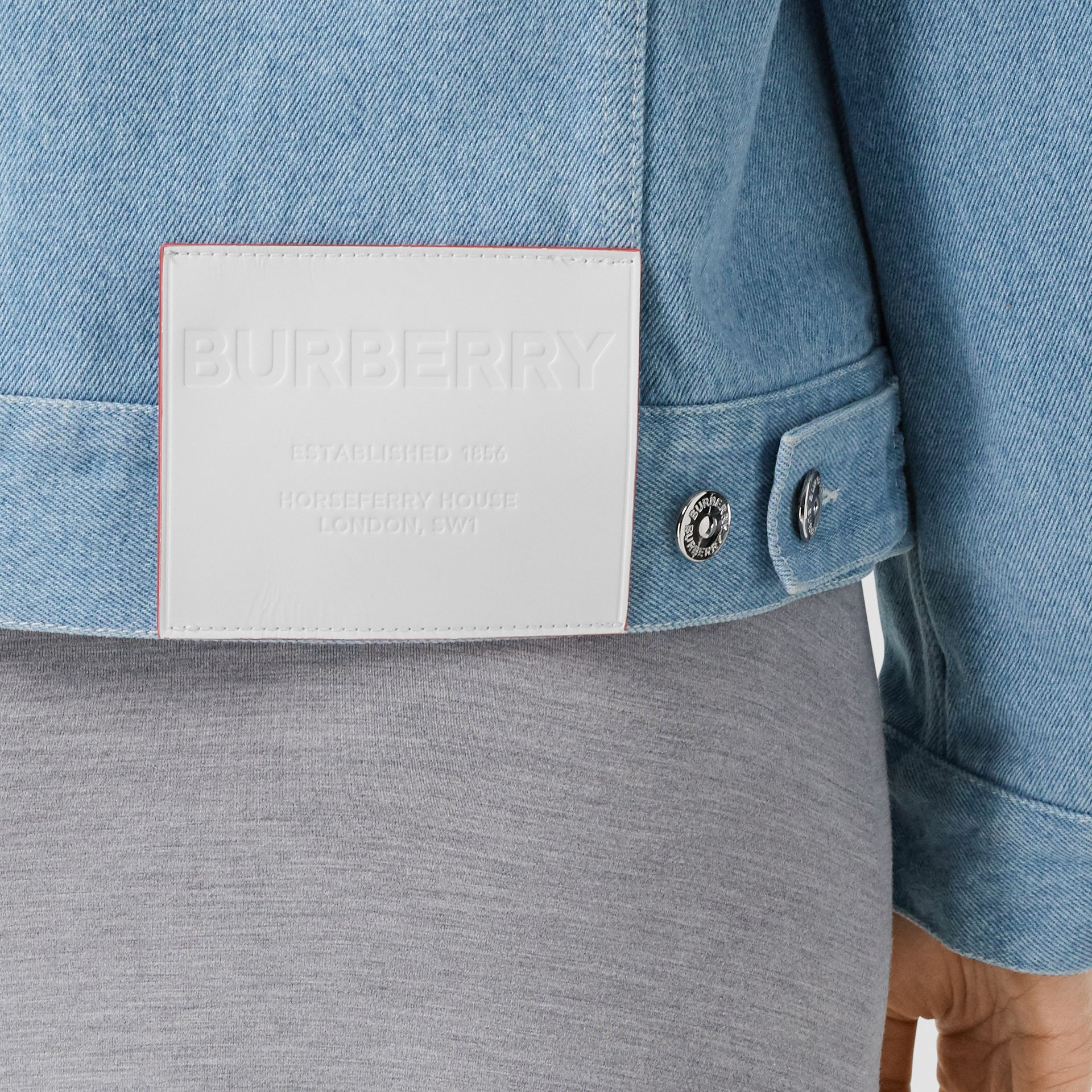 Horseferry Print Bleached Denim Jacket in Light Indigo - Women | Burberry Singapore - gallery image 5