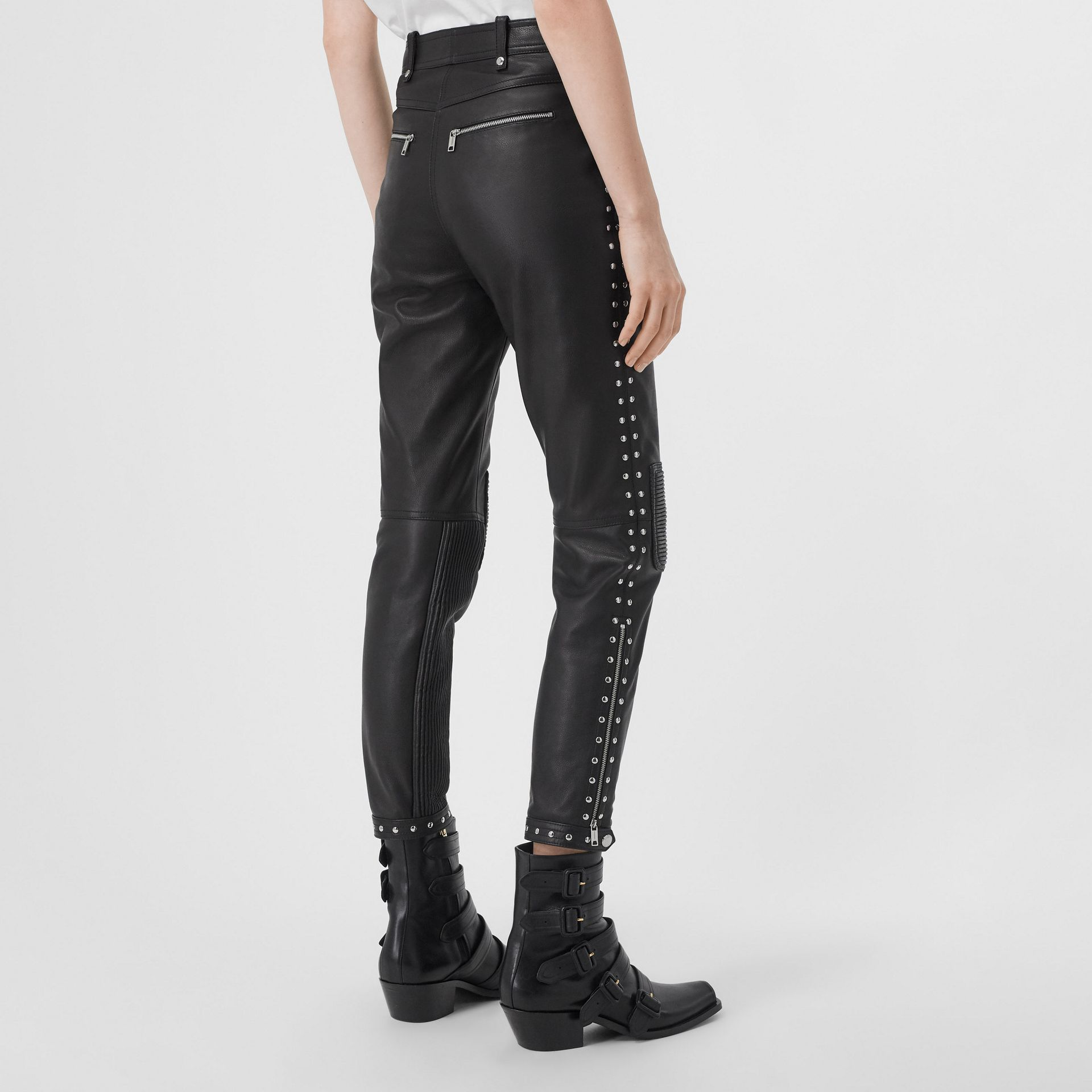 Zip Detail Studded Leather Trousers in Black - Women | Burberry - gallery image 2