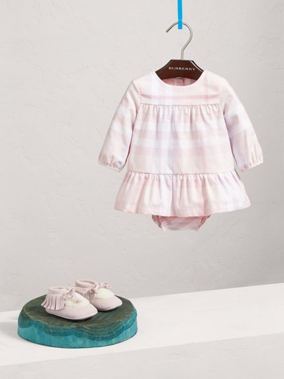 Check Cotton Tiered Dress with Bloomers in Ice Pink